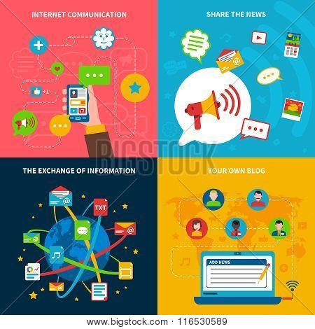Social  Network Concept Icons Set