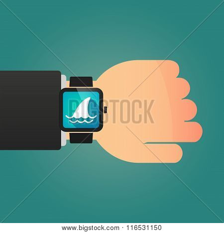 Isolated Smart Watch Icon With A Shark Fin