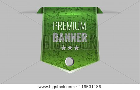 Sleek green web ribbon or bookmark. Vector Illustration