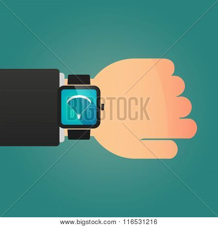 Isolated Smart Watch Icon With A Paraglider