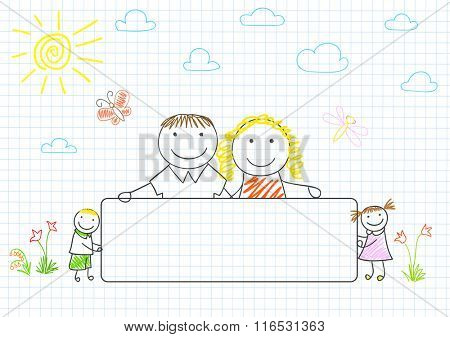 Happy family - mom, dad and two children with banner. Sketch on notebook page
