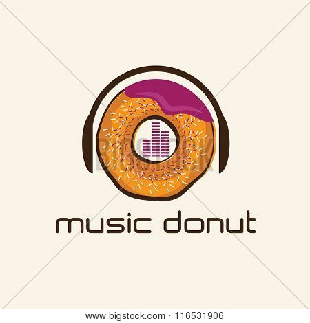 Music Donut Concept Vector Design Template