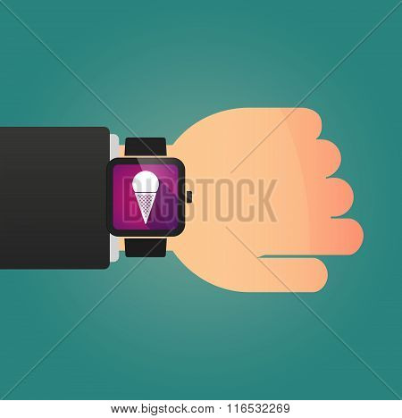 Isolated Smart Watch Icon With A Cone Ice Cream