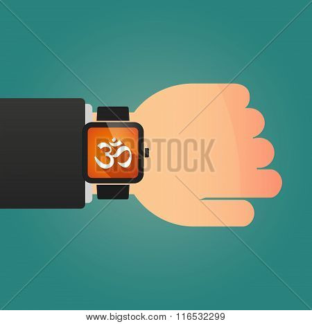 Isolated Smart Watch Icon With An Om Sign