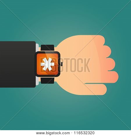 Isolated Smart Watch Icon With An Asterisk