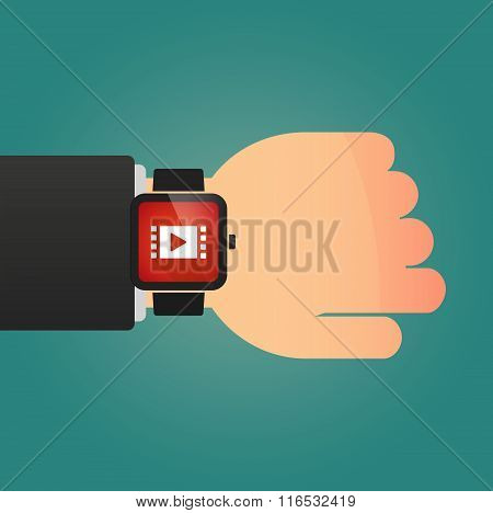 Isolated Smart Watch Icon With A Multimedia Sign