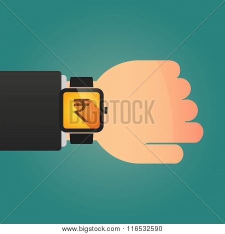 Isolated Smart Watch Icon With A Rupee Sign