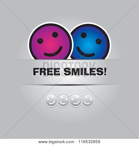 Free Smiles. Funny Greeting Card In Vector Format