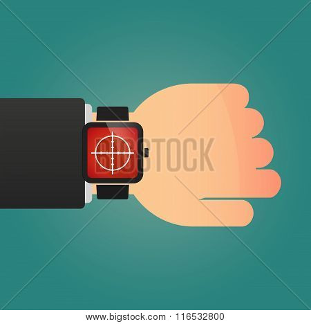 Isolated Smart Watch Icon With A Crosshair