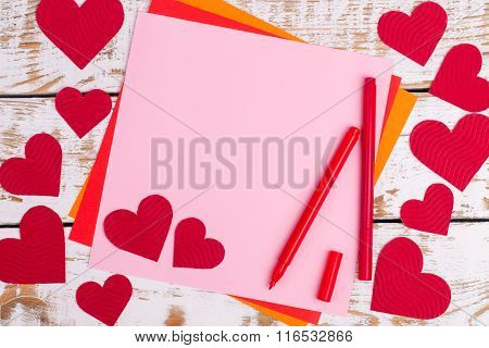 Details Of A Greeting Card With Hearts