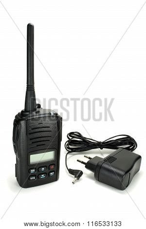 Portable Walkie-talkie With Battery Charger Isolated On A White Background