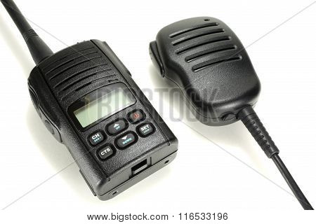 Portable Walkie-talkie With Handheld Microphone Isolated On A White Background