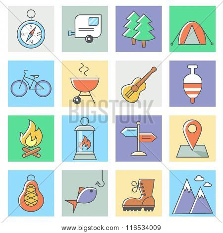 Camping icons, thin line flat design