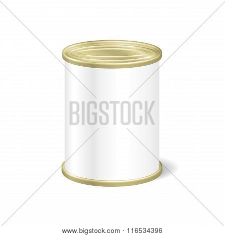 Realistic Blank Tin For Canned Food, Preserve, Conserve. Mock Up