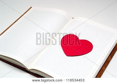 Open Diary With Paper Heart