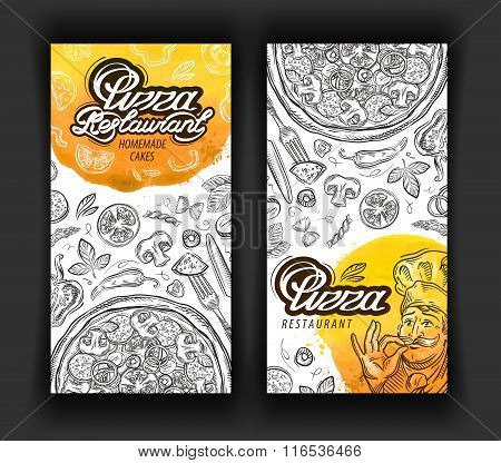 pizza restaurant vector logo design template. eatery, diner or cuisine icons