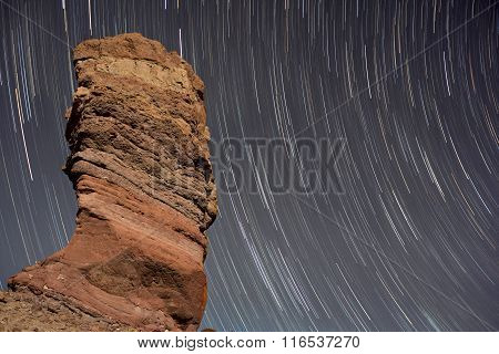 Stair trails over Roque de Garcia in Teide national park Tenerife Canary island Spain.