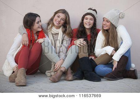 group of happy friendly teens school girls