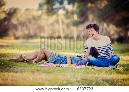 young couple friends  on date in summer