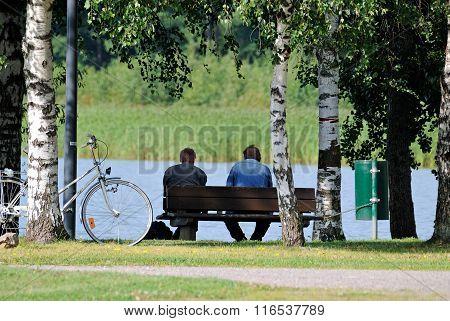 Men on the bench.