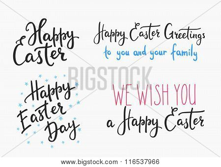 Happy Easter Day Simple Lettering.