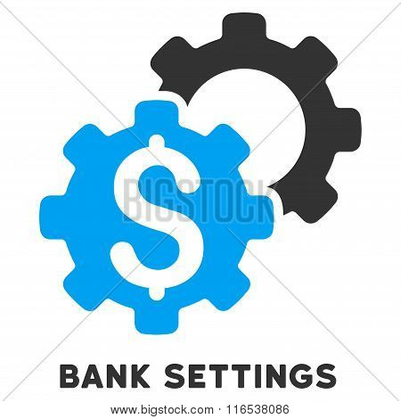 Bank Settings Vector Icon With Caption