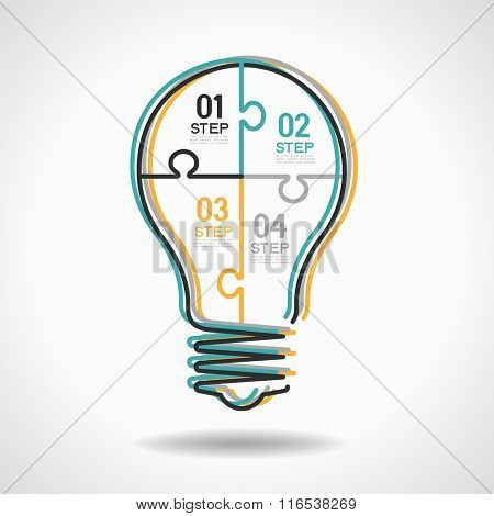 infographic Template with Light bulbs jigsaw banner. Flat linear infographic.