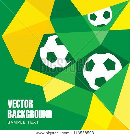 Abstract Modern Polygon Background In Brazilian Flag And Football Design, Vector