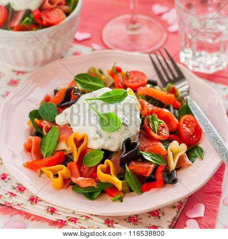 Salmon And Heart Shaped Pasta Salad With Creamy Dressing