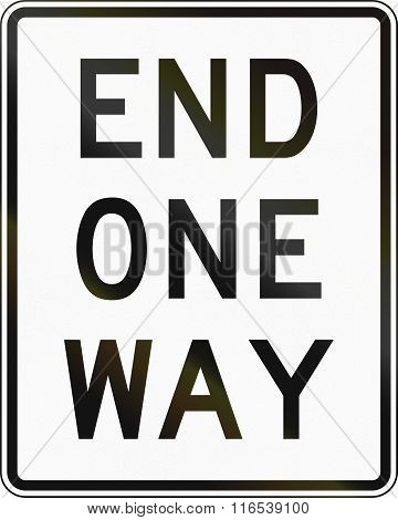 United States Mutcd Road Sign - End One-way Road