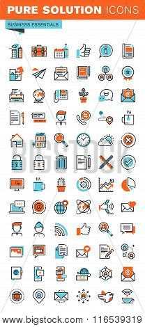 Business thin line web icons