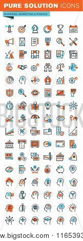 Thin line web icons for business, finance and banking, marketing, human features