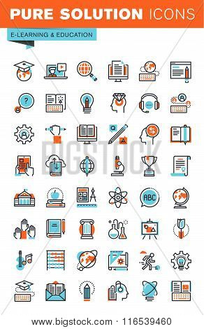 Thin line web icons for education, online training and courses, university and distance education