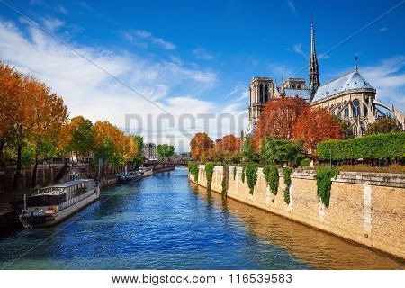 Notre Dame cathedral in Paris and  Seine river