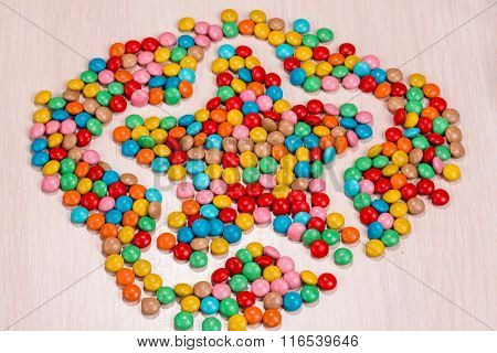 Colored Round Candy Scattered