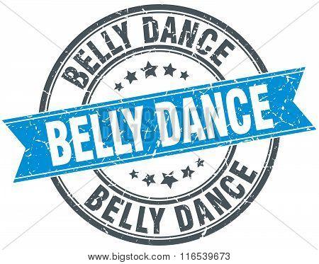 Belly Dance Blue Round Grunge Vintage Ribbon Stamp