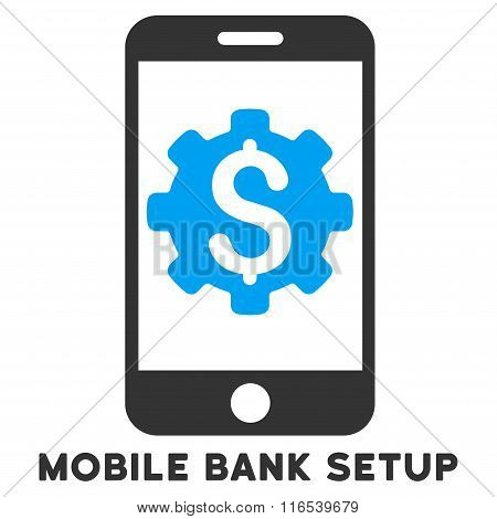 Mobile Bank Setup Vector Icon With Caption