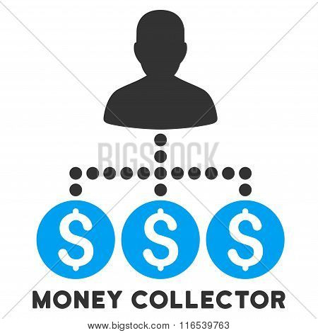 Money Collector Vector Icon With Caption