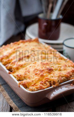 Cheese Crusted Crepe Bake