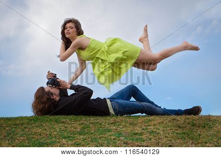model and floating photographer concept