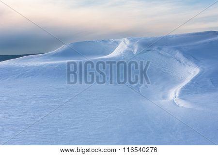 Beautiful Lines of Snowdrift in Evening Light