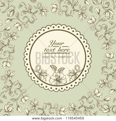 Beautiful vintage card with a different stylized weave flowers