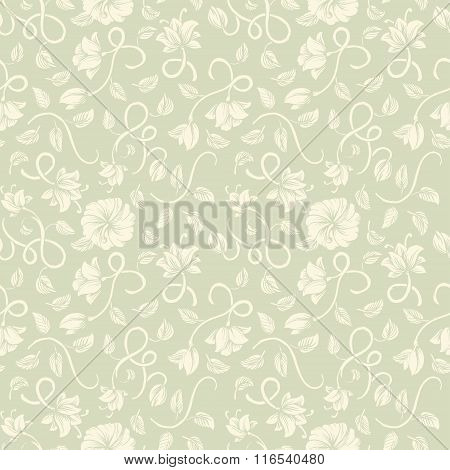Beautiful vintage seamless ornaments patterns with a different white stylized weave flowers on pista