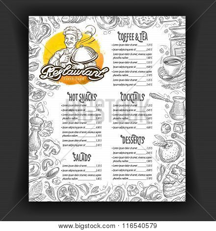restaurant vector menu design template. food, drinks or dessert icons