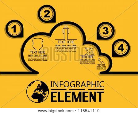 Infographic Simple Template With Steps Parts Options Elements Cloud Computing