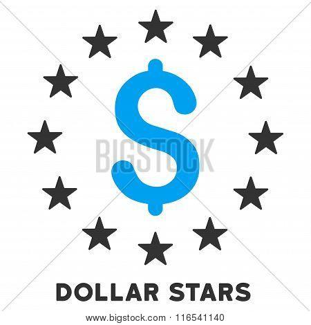 Dollar Stars Glyph Icon With Caption
