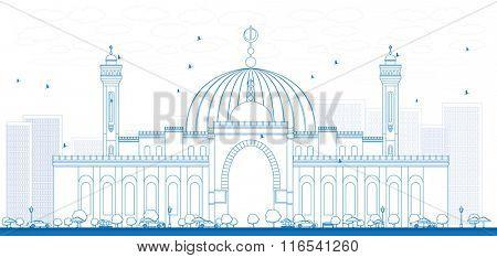 Outline Al Fateh Grand Mosque in Manama City. Bahrain. Vector Illustration.