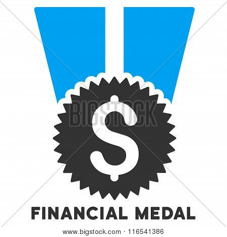 Financial Medal Glyph Icon With Caption