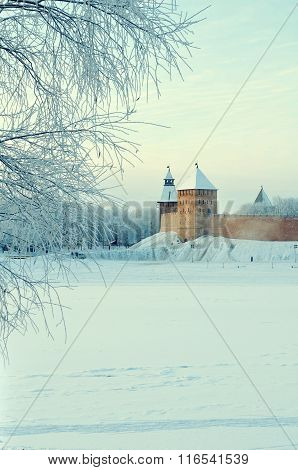 Novgorod Kremlin Towers In Veliky Novgorod, Russia - Architectural Winter City View In Retro Tones.