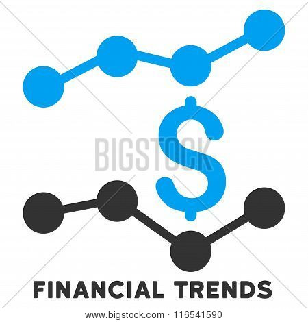 Financial Trends Glyph Flat Icon With Caption